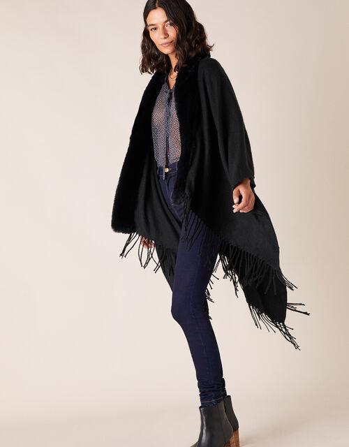 Faux Fur Wrap, Blue (NAVY), large
