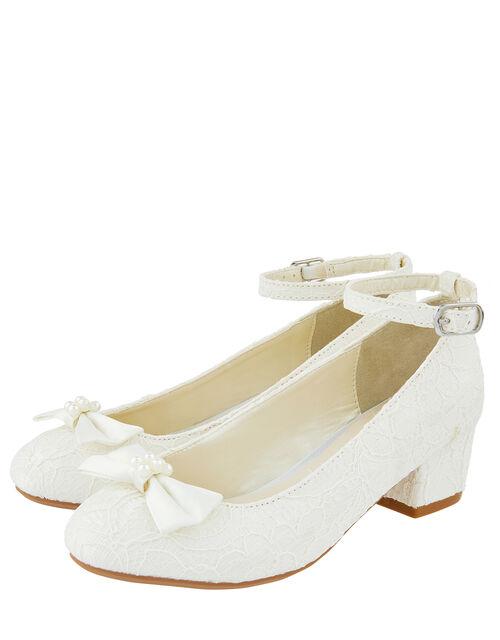 Lara Shimmer Lace Shoes, Ivory (IVORY), large