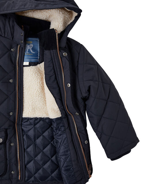 Quilted Coat with Hood, Blue (NAVY), large
