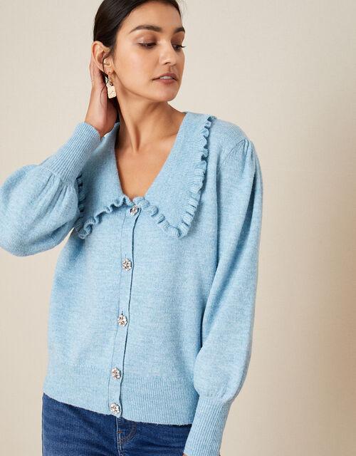 Cosy Collar Cardigan, Blue (BLUE), large