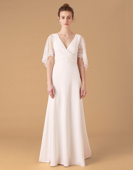 Linda Lace Angel Sleeve Bridal Dress Ivory, Ivory (IVORY), large