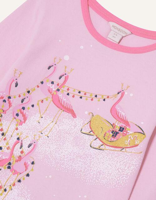 Festive Flamingo Pyjama Set, Pink (PINK), large