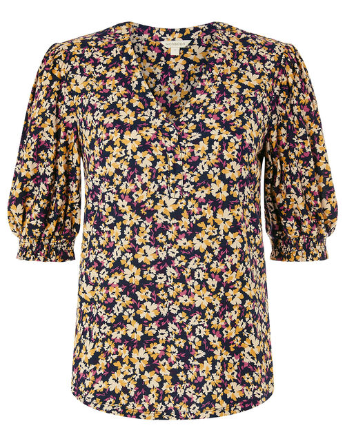 Missie Floral Short Sleeve Top, Blue (NAVY), large