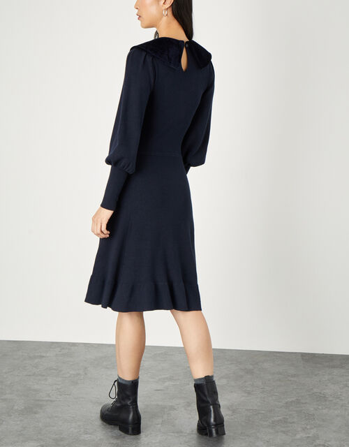 Velvet Tie Collar Long Sleeve Dress, Blue (NAVY), large