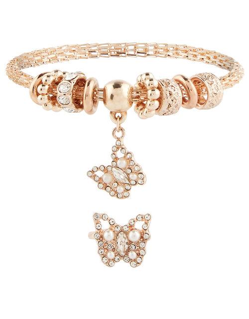 Sparkle Butterfly Bracelet and Ring Set, , large