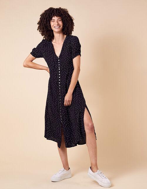 Spot Print Midi Dress in Sustainable Viscose, Black (BLACK), large