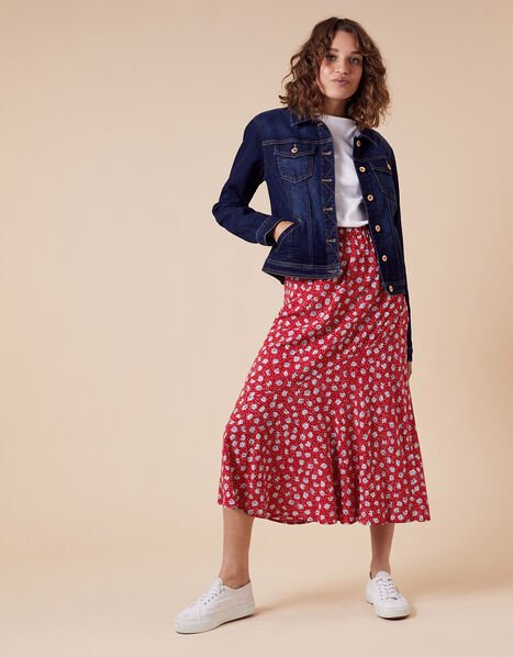 Daisy Print Midi Skirt in LENZING™ ECOVERO™ Red, Red (RED), large