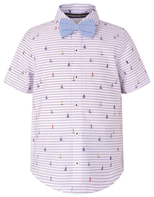 Aaron Striped Shirt and Bow Tie Set, Ivory (IVORY), large