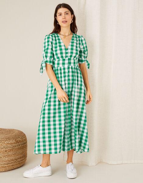 Anima Gingham Print Dress Green, Green (GREEN), large