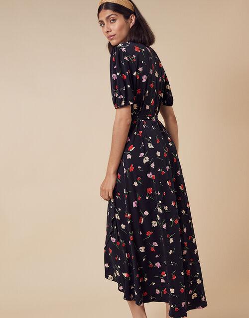 Floral Print Wrap Midi Dress, Black (BLACK), large