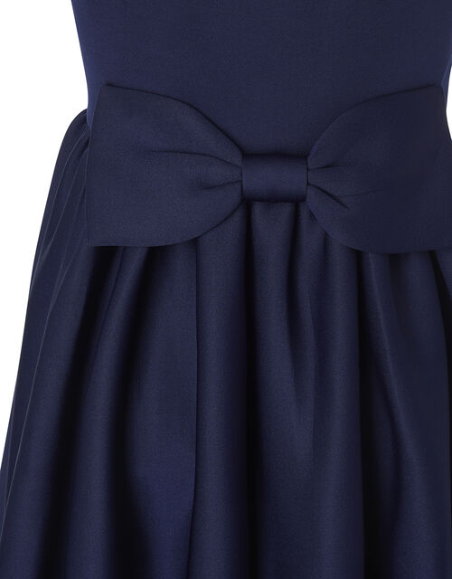 Bow Back Scuba Halter Prom Dress, Blue (NAVY), large
