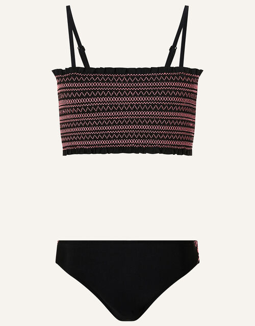 Shirred Bikini Set, Black (BLACK), large