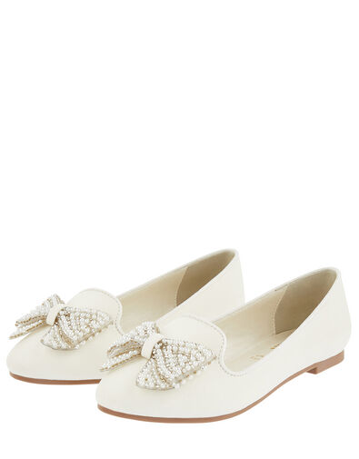 Pearl Bow Slippers Ivory, Ivory (IVORY), large