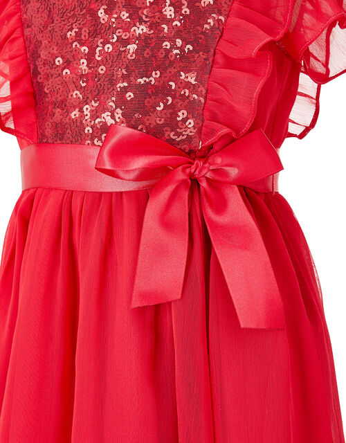 Baby Sequin Chiffon Dress, Red (RED), large