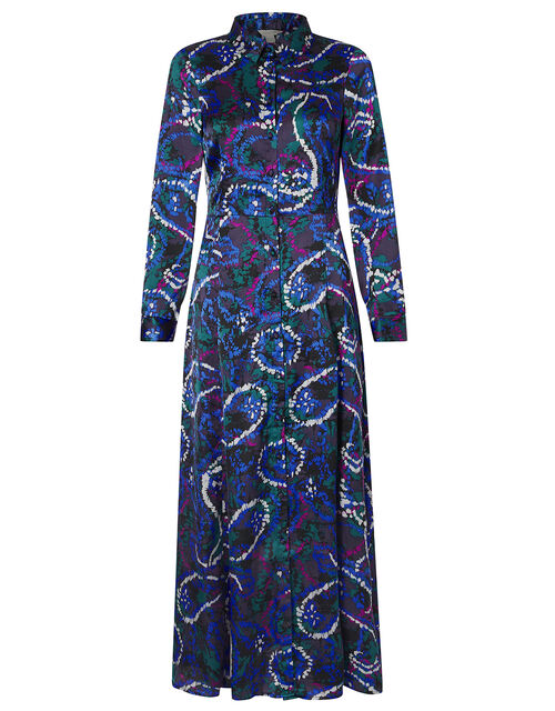 Paisley Print Satin Shirt Dress, Blue (NAVY), large