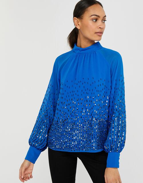 Leah Sequin Blouse, Blue (BLUE), large