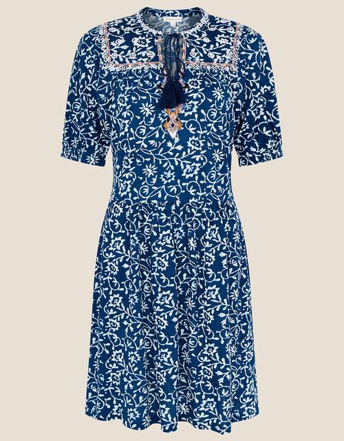 Batik Print Dress with Organic Cotton, Blue (BLUE), large