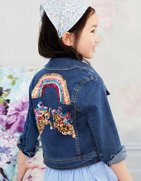 Sequin Unicorn Denim Jacket  Blue, Blue (BLUE), large