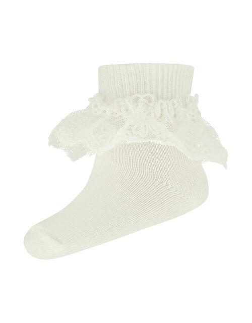 Baby Olivia Lace Socks, Ivory (IVORY), large