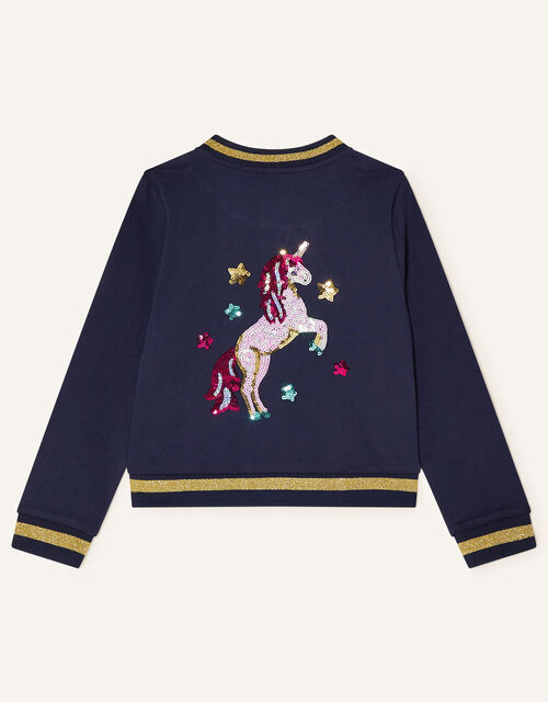 Sequin Star and Unicorn Jacket, Blue (NAVY), large