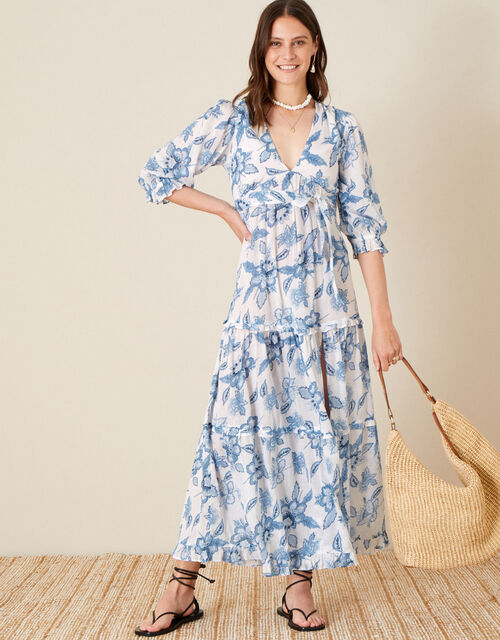 Roxanna Floral Tiered Maxi Dress, Blue (BLUE), large