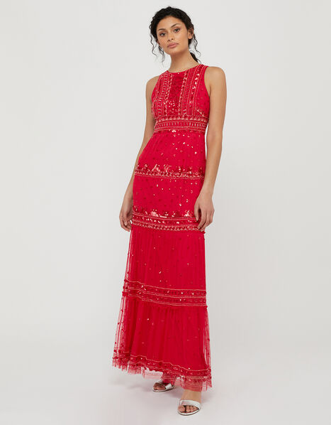 Sai Sustainable Embellished Maxi Dress Red, Red (RED), large