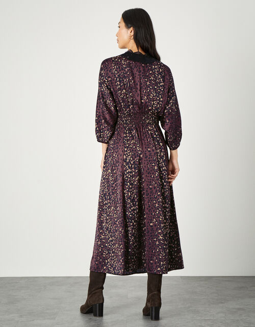 Luna Lace Animal Print Dress, Brown (CHOCOLATE), large