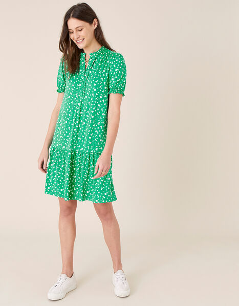 Cosima Ditsy Floral Short Dress Green, Green (GREEN), large