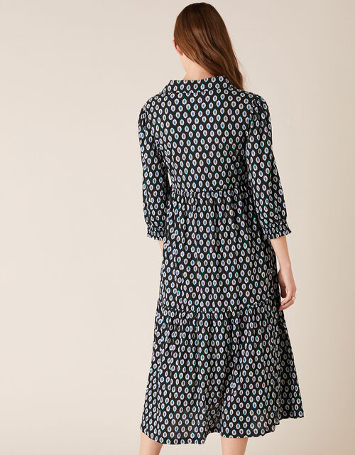 Peacock Print Shirt Dress with Organic Cotton, Black (BLACK), large