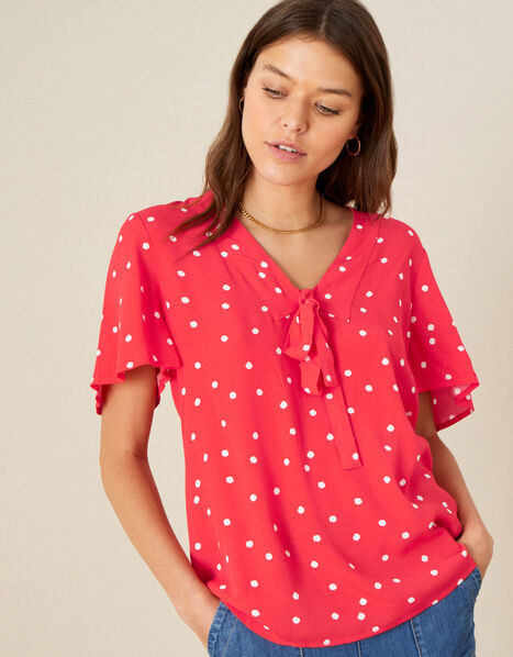 Spot Print Tie Front Top Red, Red (RED), large