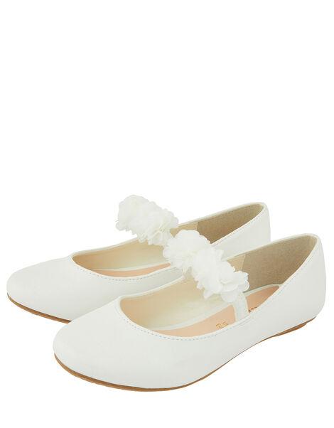 Cynthia Corsage Shimmer Ballerina Flat Shoes Ivory, Ivory (IVORY), large