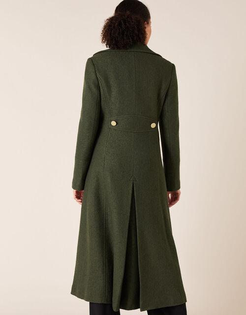 Long Military Coat in Wool Blend, Green (KHAKI), large