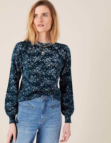 Pointelle Floral Jumper Blue, Blue (BLUE), large