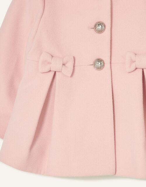 Baby Bow Hooded Coat, Pink (PALE PINK), large