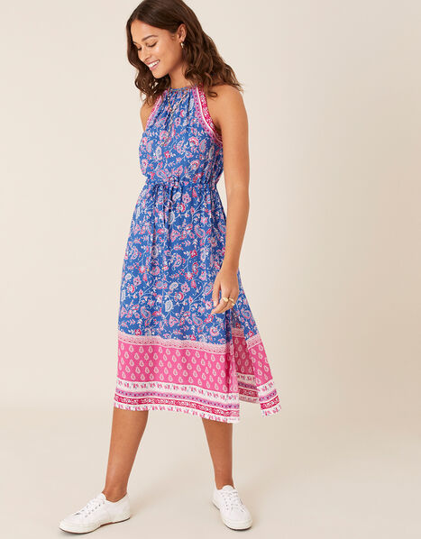 Skylar Printed Dress in LENZING™ ECOVERO™ Blue, Blue (BLUE), large