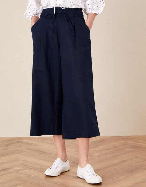 Drawstring Culottes in Linen Blend, Blue (NAVY), large