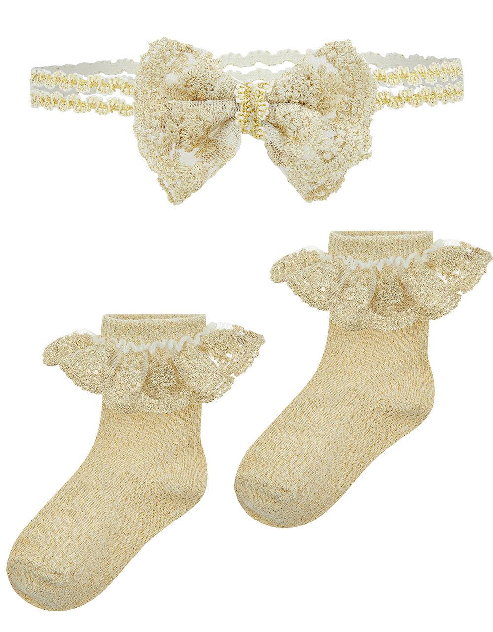 Baby Glitter Sock and Headband Set, Gold (GOLD), large