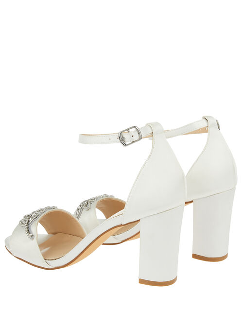 Florence Embellished Feather Bridal Sandals, Ivory (IVORY), large