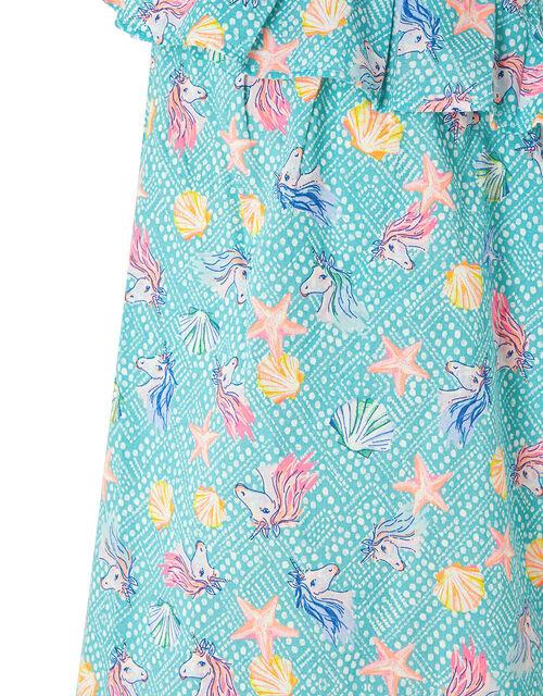 Laverna Unicorn Print Dress in Organic Cotton, Blue (TURQUOISE), large