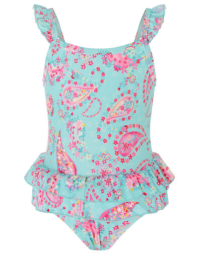 Baby Paisley Print Frill Swimsuit Blue, Blue (BLUE), large