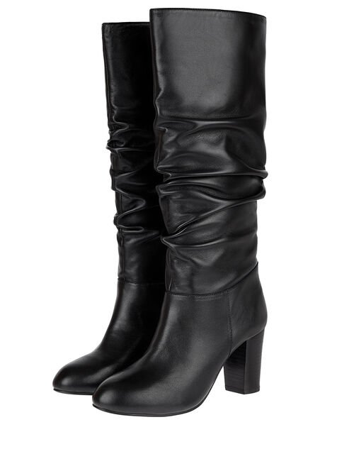 Slouch Leather Thigh Boots, Black (BLACK), large