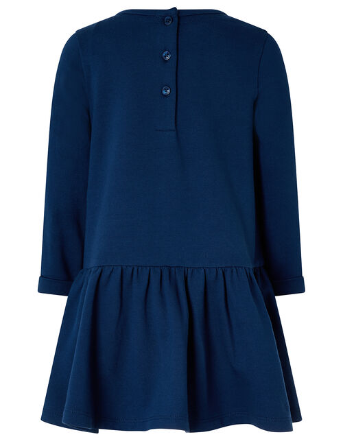 Baby Bunny Sweat Dress in Organic Cotton, Blue (NAVY), large