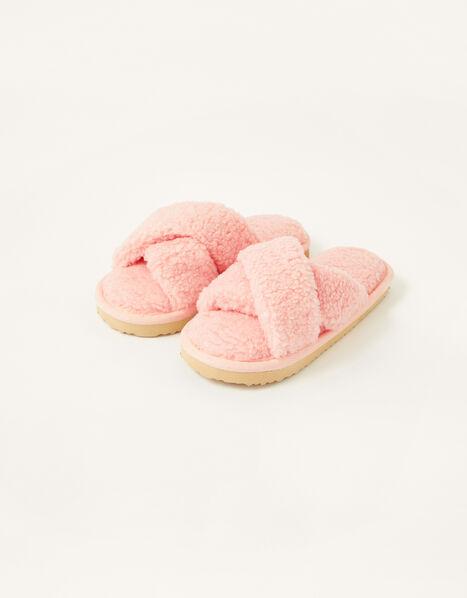 Cross Strap Slider Slippers  Pink, Pink (PINK), large