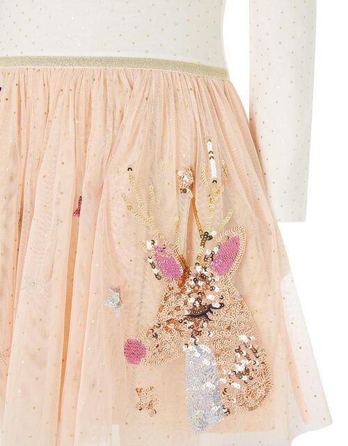 XMAS Sequin Reindeer Disco Dress, Nude (NUDE), large