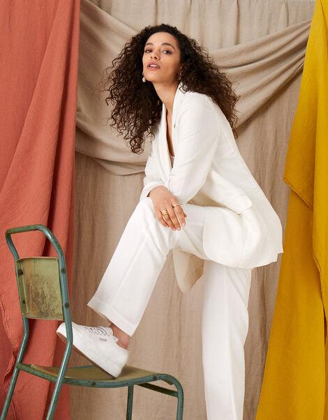 Smart Regular Length Trousers in Linen Blend White, White (WHITE), large