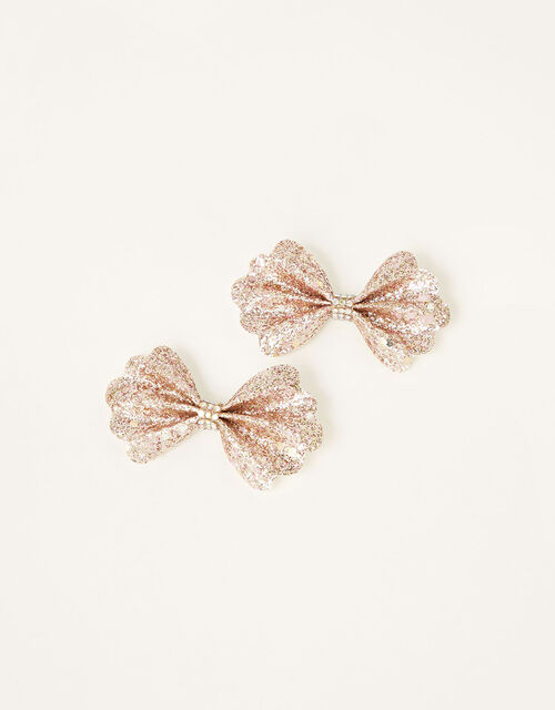 Scallop Glitter Bow Hair Clips , , large