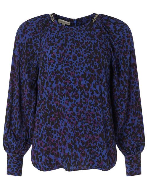 Animal Print Beaded Neck Blouse, Blue (BLUE), large