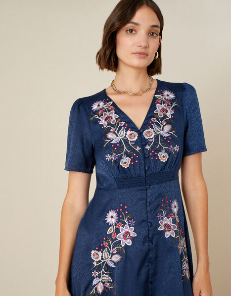 Embroidered Placement Jacquard Dress  Blue, Blue (NAVY), large