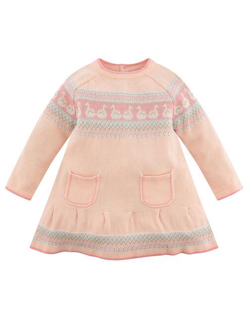 Newborn Baby Swan Knit Dress, Pink (PINK), large