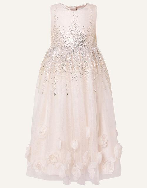 3D Rose Sequin Maxi Dress, Pink (PALE PINK), large